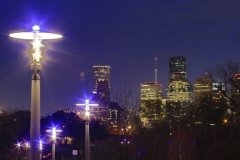 Houston at night, Buffalo Bayou view