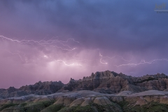 Lightning storm at  Badlands National Park