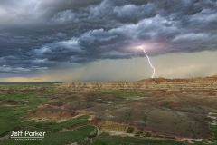 Scenic shot at Badlands National Park during lightning storm