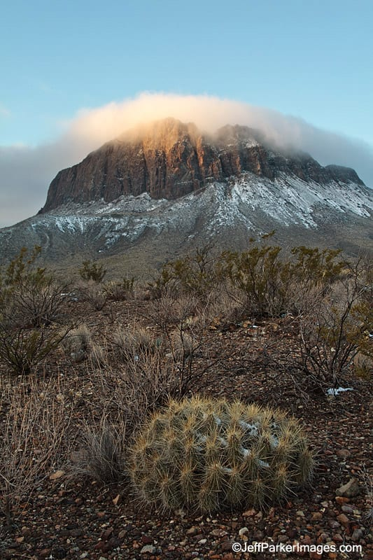 Nugent Mountain with snow, Big Bend National Park, Texas