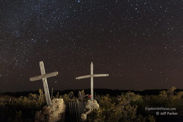 Terlingua Cemetery makes a great place to do night photography with Jeff Parker during his Big Bend Photo Tour