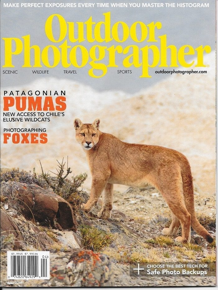 The April 2018 issue of Outdoor Photographer features Jeff's puma article and cover shot.